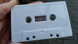 Grey cassette tapes wound to length
