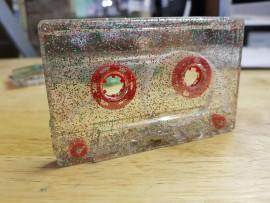 Red Green Silver glitter cassette