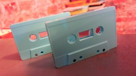 Baby blue cassette tapes