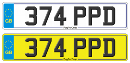 374 PPD Dateless number plate